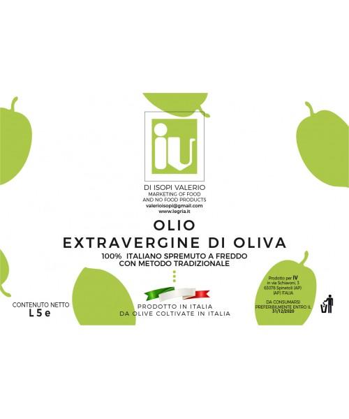 Bottiglia olio extra vergine di oliva Evo 100% italiano  da 5L
