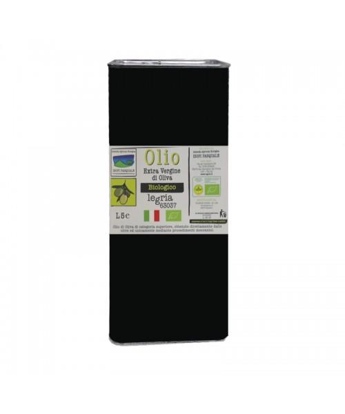 Olio extra vergine d'oliva biologico, in latta da 5 litri