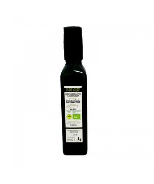 Olio extra vergine d'oliva biologico, in bottiglia da 250ml con tappo antirabbocco