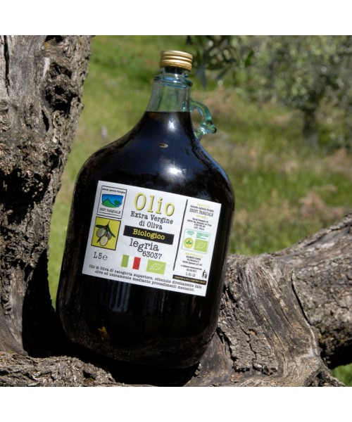 Olio extra vergine d'oliva biologico, in dama da 5 litri