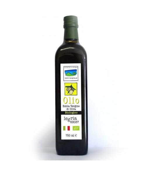 Olio extra vergine d'oliva biologico, in bottiglia da 750ml